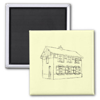 Sketch of an Old House, with Shutters. 2 Inch Square Magnet