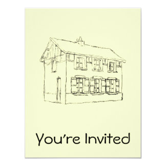 Sketch of an Old House, with Shutters. 4.25x5.5 Paper Invitation Card
