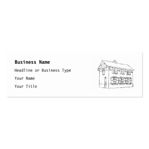 Sketch of an Old House, with Shutters. Business Card Template