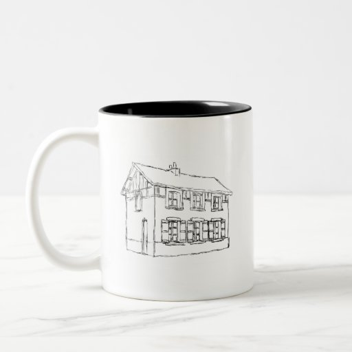 Sketch of an Old House, with Shutters. Coffee Mug