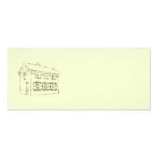 Sketch of an Old House, with Shutters. 4x9.25 Paper Invitation Card