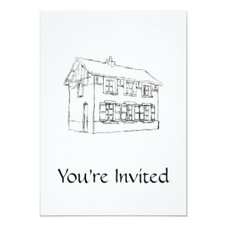 Sketch of an Old House, with Shutters. 5x7 Paper Invitation Card