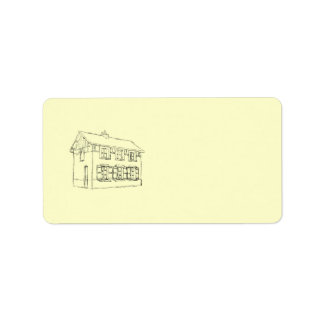 Sketch of an Old House, with Shutters. Label