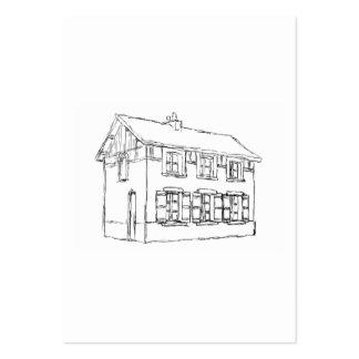 Sketch of an Old House, with Shutters. Large Business Card