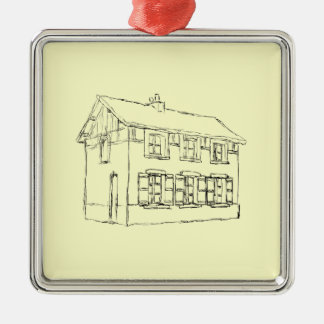 Sketch of an Old House, with Shutters. Metal Ornament