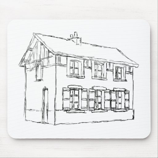 Sketch of an Old House, with Shutters. Mouse Pad