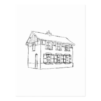 Sketch of an Old House with Shutters Post Cards