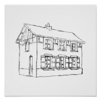 Sketch of an Old House, with Shutters. Poster