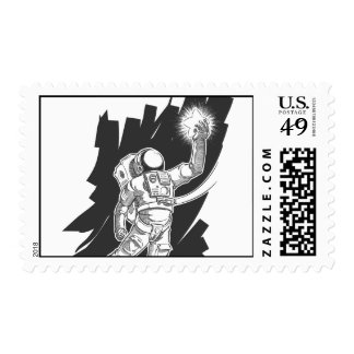 Sketch of Astronaut or Spaceman Grabbing a Star Postage Stamps