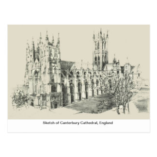 Sketch of Canterbury Cathedral, England Postcard