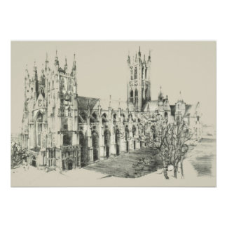 Sketch of Canterbury Cathedral Poster