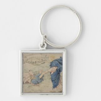 Sketch of Christ Walking on Water (w/c on paper) Keychain