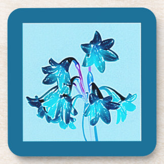 Sketch of Daylilies - Cobalt and Sky Blue Coaster