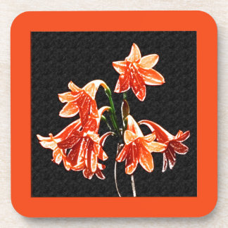 Sketch of Daylilies - Mandarin orange and Rust Drink Coaster