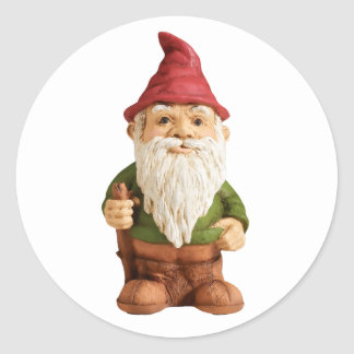 Sketch of Garden Gnome Classic Round Sticker