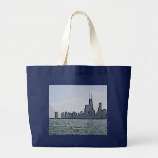 Sketch of Gorgeous Chicago Skyline Large Tote Bag