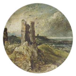 Sketch of Hadleigh Castle (recto) (oil on millboar Dinner Plate