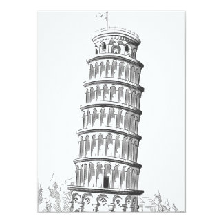 Sketch of Italy Landmark - Leaning Tower of Pisa 5.5x7.5 Paper Invitation Card