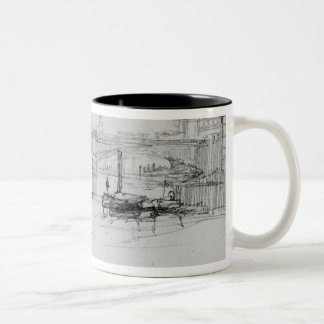 Sketch of London Bridge, 1860 Two-Tone Coffee Mug