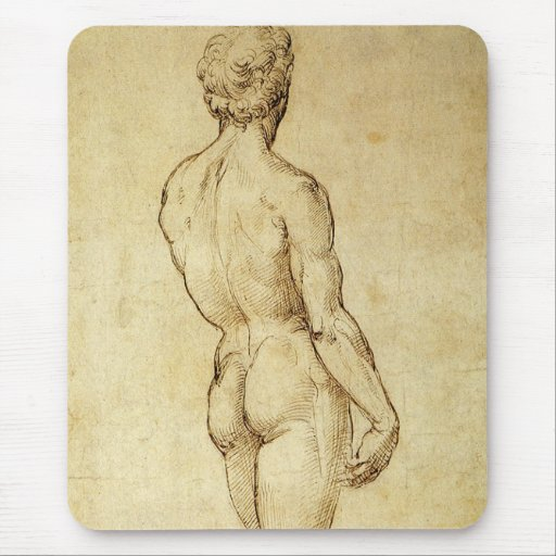 Sketch of Michelangelo's David Statue by Raphael Mouse Pad
