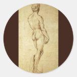 Sketch of Michelangelo's David Statue by Raphael Classic Round Sticker