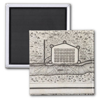 Sketch of new Orleans taken from fort St Charles 2 Inch Square Magnet