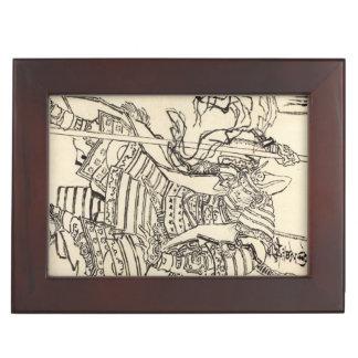 Sketch of samurai warrior Kato Kiyomasa, Hokusai Memory Box
