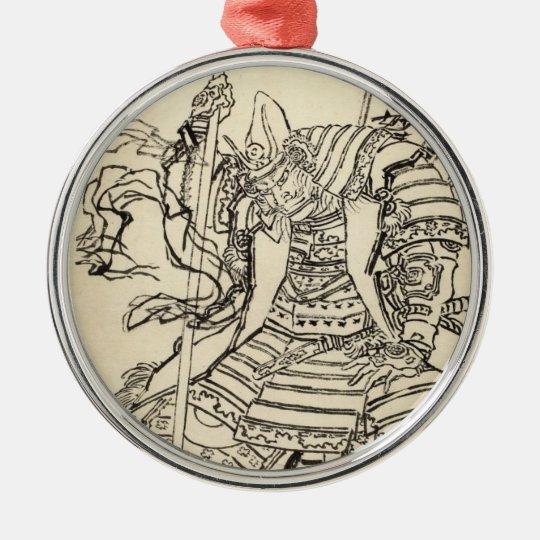 Sketch of samurai warrior  Kato Kiyomasa, Hokusai Metal Ornament