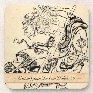 Sketch of Samurai Warrior with lion mask Hokusai Coaster