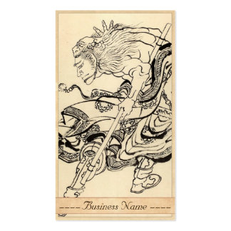 Sketch of Samurai Warrior with lion mask Hokusai Double-Sided Standard Business Cards (Pack Of 100)