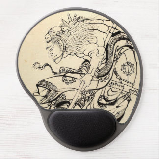 Sketch of Samurai Warrior with lion mask Hokusai Gel Mouse Pad