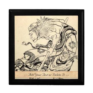 Sketch of Samurai Warrior with lion mask Hokusai Gift Box