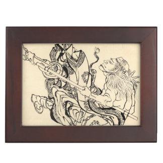Sketch of Samurai Warrior with lion mask Hokusai Memory Box