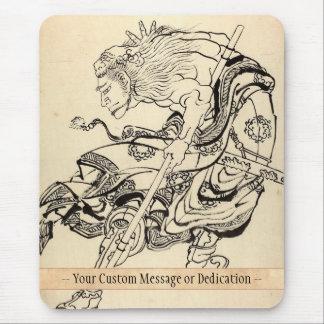 Sketch of Samurai Warrior with lion mask Hokusai Mouse Pad
