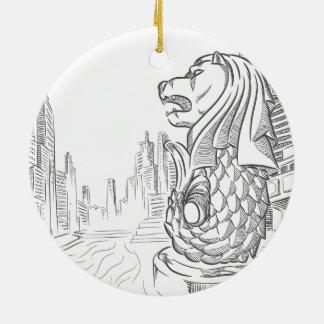 Sketch of Singapore Tourism Landmark - Merlion Ceramic Ornament