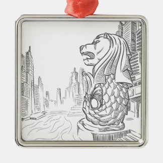 Sketch of Singapore Tourism Landmark - Merlion Metal Ornament