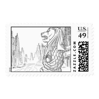 Sketch of Singapore Tourism Landmark - Merlion Postage Stamps