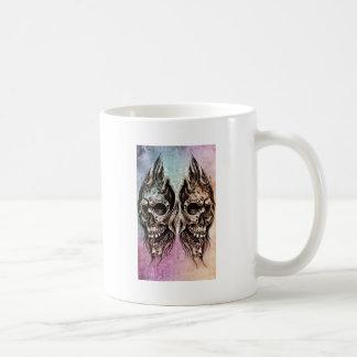 Sketch of tattoo art, skull head illustration, ove coffee mug