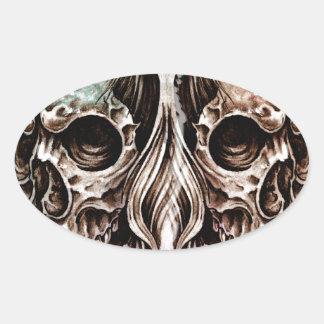 Sketch of tattoo art, skull head illustration, ove oval sticker