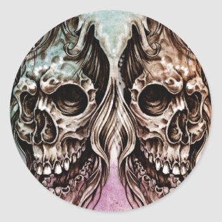 Sketch of tattoo art, skull head illustration, ove stickers