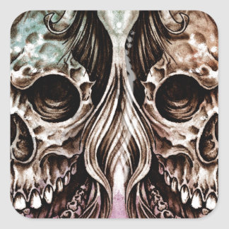 Sketch of tattoo art, skull head illustration, ove square sticker