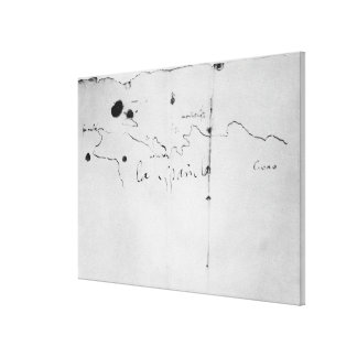 Sketch of the coast of Espanola, Stretched Canvas Print