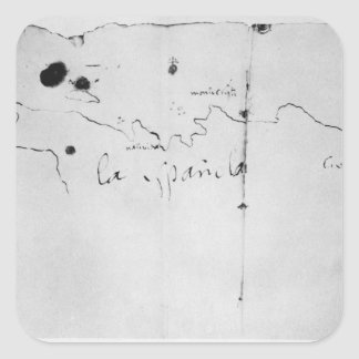 Sketch of the coast of Espanola, Square Sticker