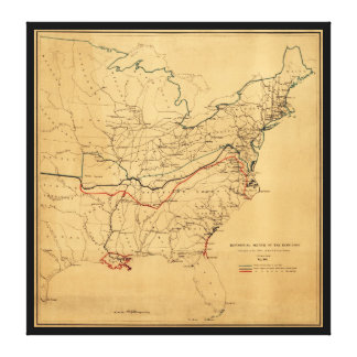Sketch of the Rebellion Civil War Map (May 1862) Canvas Print