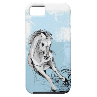 Sketch of white horse running iPhone 5 cover