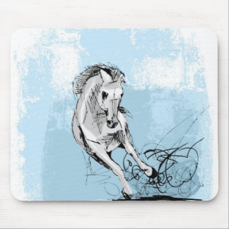 Sketch of white horse running mouse pad