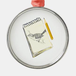 Sketch Pad Bird Metal Ornament