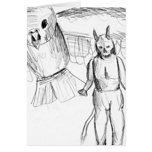 Sketch, skull man flying bird horror drawing card