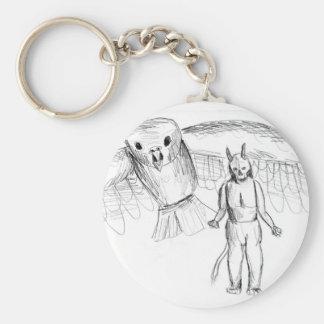 Sketch, skull man flying bird horror drawing keychain