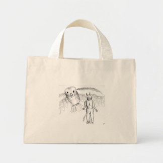 Sketch, skull man flying bird horror drawing mini tote bag